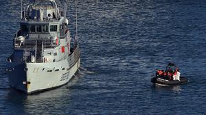 A Border Force RIB vessel arrives at Dover Marina, following a small boat incident in the English Channel