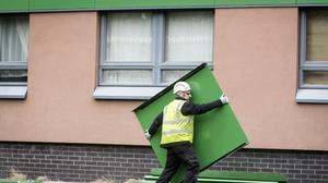 Cladding is removed from a tower block in Sheffield (Danny Lawson/PA)