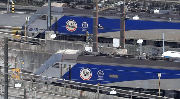 Eurotunnel trains at Folkestone, as operator Getlink said it is ready for a no-deal exit (PA)