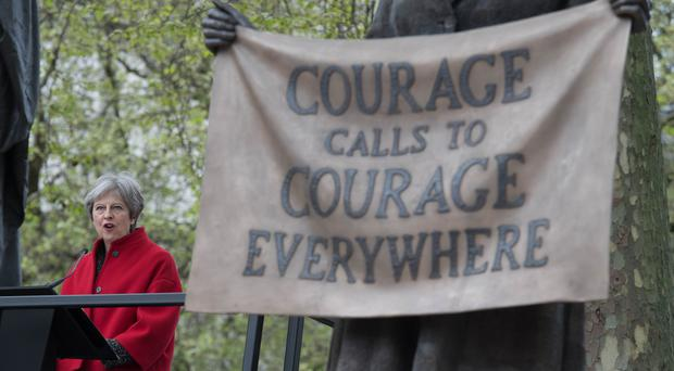 Prime Minister Theresa May at the unveiling of the statue of suffragist leader Millicent Fawcett in Parliament Square, London (Stefan Rousseau/PA)
