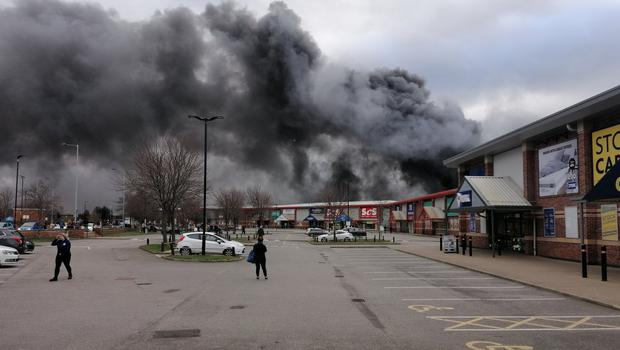 The large fire broke out at Westgate Retail Park in Wakefield (YorkshireDaveUK/Twitter/PA)