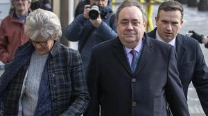 Former Scottish first minister Alex Salmond arrives at the High Court in Edinburgh for the fourth day of his trial over accusations of sexual assault, including one of attempted rape (Jane Barlow/PA)