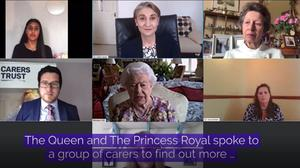 The Queen and the Princess Royal took part in a video call with carers supported by the Carers Trust (Buckingham Palace/PA)