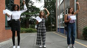 Students after receiving their A-level results at Peter Symonds College, Winchester (Andrew Matthews/PA)