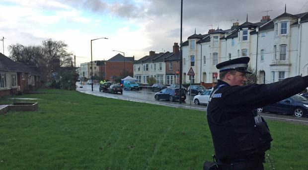 The scene at Tachbrook Road in Leamington Spa, Warwickshire, where a man has been confirmed dead and another seriously injured after a double stabbing on Wednesday. (Richard Vernalls/PA)