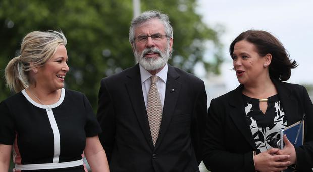 Sinn Fein's Gerry Adams along with Michelle O'Neill (left) and deputy leader Mary Lou McDonald (Brian Lawless/PA)