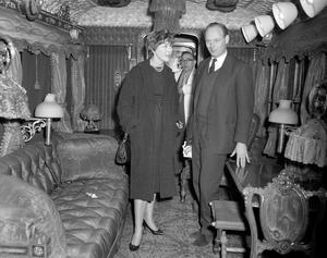 The interior of Queen Victoria's railway coach, on show at Earl's Court in 1959 (PA)