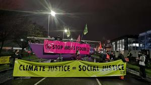 Climate activists have blocked the entrance to the Ineos refinery (Extinction Rebellion Scotland/PA)