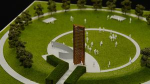 A model of the new UK Police Memorial set to be completed at the National Memorial Arboretum in 2021 (Joe Giddens/PA)