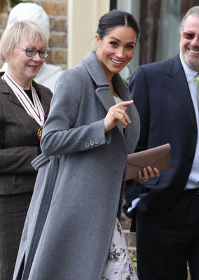 The Duchess of Sussex arrives for a visit to the Royal Variety Charity's care home, Brinsworth House, in Twickenham, south-west London (Andrew Matthews/PA)