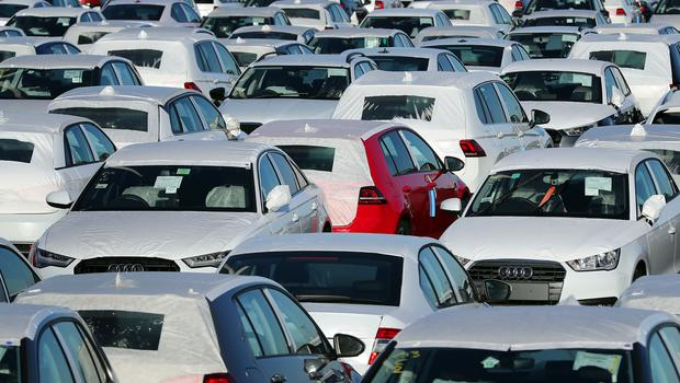 New cars in a compound near Sheerness in Kent (Gareth Fuller/PA)