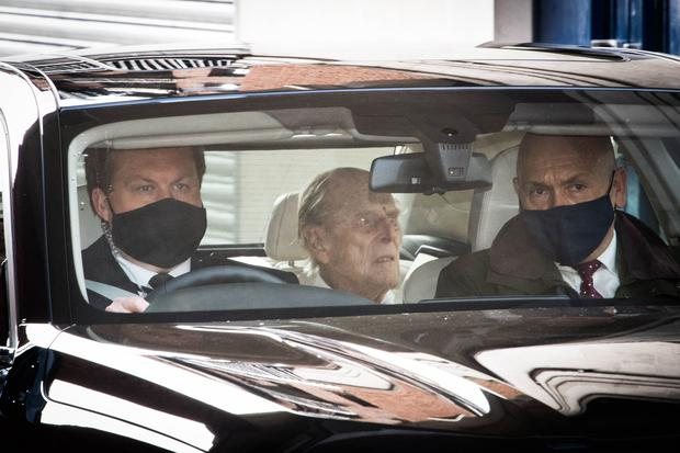 The Duke of Edinburgh is driven away from King Edward VII's Hospital after a month as an in patient (Stefan Rousseau/PA)