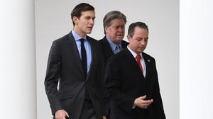 White House senior adviser Jared Kushner, former chief strategist Steve Bannon and former chief of staff Reince Priebus (Stefan Rousseau/PA)