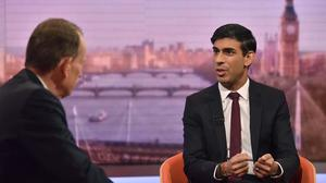 Rishi Sunak appeared on the Andrew Marr Show (Jeff Overs/BBC/PA)