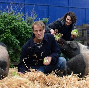 Food waste expert Tristram Stuart and chef Thomasina Miers are calling for changes to the way we feed our pigs (The Pig Idea/PA)