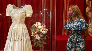 Princess Beatrice alongside her wedding dress, ahead of it going on public display at Windsor Castle from Thursday (Steve Parsons/PA)