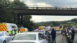 The scene on the M5 after four people died following a crash involving several vehicles (Ash Jones/PA)