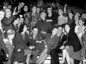 VE Day celebrations in the east end of London (PA)