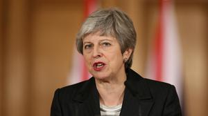 Theresa May makes her statement (Jonathan Brady/PA)