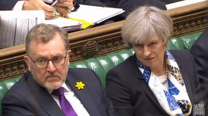 Prime Minister Theresa May and Scottish Secretary David Mundell in the House of Commons (PA)