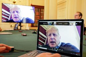 Boris Johnson, pictured on March 28, chaired Downing Street meetings via video conferencing while self-isolating before he was admitted to hospital (Andrew Parsons/Crown Copyright/10 Downing Street/PA)