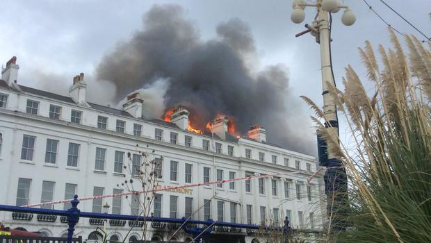 The fire at Claremont hotel in Eastbourne (East Sussex Fire and Rescue Service/PA)
