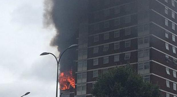 Handout photo taken with permission from the Twitter feed of Liam Twomey of a blaze at Bush Court, Shepherd's Bush Green, London. A faulty tumble dryer subject to a safety notice was the cause of a huge tower block fire, an investigation has found (Lisa Twomey/PA)