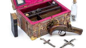 The box containing what auctioneers describe as a 'vampire-slaying kit' (Mark Laban/Hansons/PA)