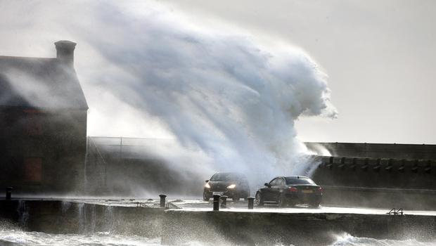 Windy weather on the Ayrshire coast at Ardrossan