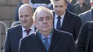 Alex Salmond leaves the High Court in Edinburgh after the ninth day of his trial (Jane Barlow/PA)