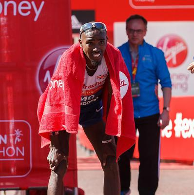 Mo Farah finished in eighth place in the Virgin Money London Marathon.