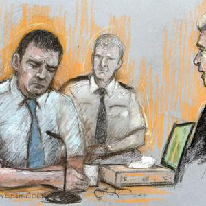 A court artist's impression of Mark Bridger during his testimony at Mold Crown Court (Elizabeth Cook/PA)