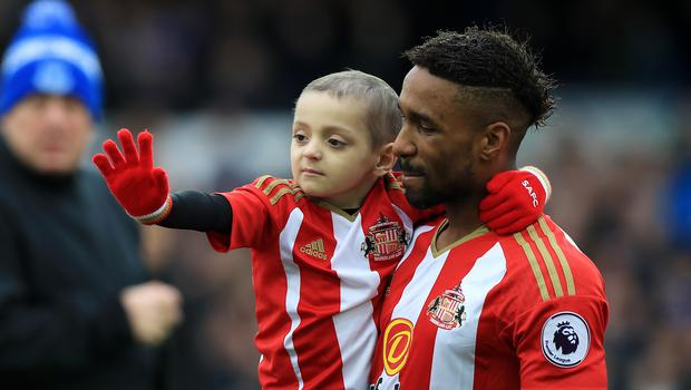 Jermain Defoe has paid tribute to his mate Bradley Lowery on what would have been the little boy's seventh birthday (Peter Byrne/PA)
