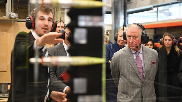The Prince of Wales during a visit to the Whittle Laboratory (Joe Giddens/PA)