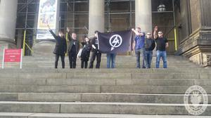 Alice Cutter and other National Action members delivering a Nazi-stype salute in Leeds, in 2016. (West Midlands Police/PA)