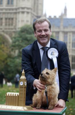Charlie Elphicke, then Dover MP with four-year-old Star, in the 2012 Westminster Dog of the Year competition (David Parry/PA)