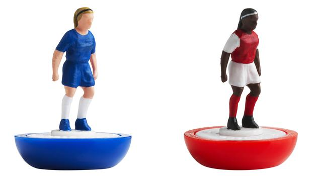 Figures are painted in the colours of Chelsea and Arsenal (FA/PA)