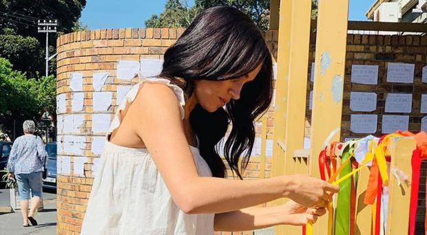 The Duchess of Sussex visiting the memorial to a murdered South African student (Sussex Royal/PA)
