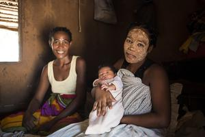 Nome, 21, wearing a 'masonjoany' mask to protect herself from the sun and bad spirits in Madagascar (WaterAid/PA)