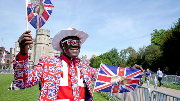 Joshua Arane from Battersea, London, gets into the royal wedding spirit (Owen Humphreys/PA)