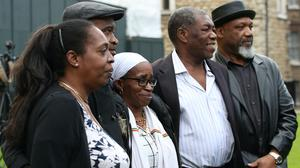 Members of the Windrush generation (from left) Sarah O'Connor, 56, who arrived from Jamaica in 1967; Anthony Bryan, aged 60, who arrived from Jamaica in 1965; Paulette Wilson, 62, who arrived from Jamaica in 1968; Sylvester Marshall, 63, who arrived from Jamaica in 1973, and Elwaldo Romeo, 63, who arrived from Antigua in 1959 (Yui Mok/PA)