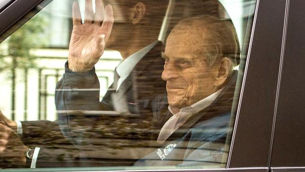 The Duke of Edinburgh leaving King Edward VII hospital where surgeons replaced his hip joint with an prosthetic implant (Dominic Lipinski/PA)