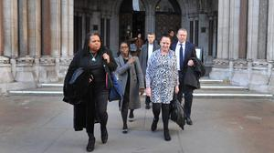 The family of Mark Duggan leave the Royal Courts of Justice (PA)