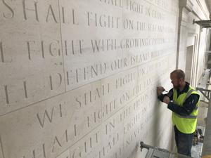 Winston Churchill's famous speech being carved at the new British Normandy Memorial (National Memorial Trust/PA)