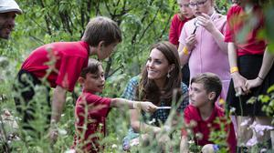 The Duchess of Cambridge visits her Back To Nature Garden with children from Hampton Hill junior school (Heathcliff O'Malley/PA)