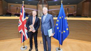 Boris Johnson's chief Europe negotiator, David Frost (left), with his EU counterpart, Michel Barnier (Dati Bendo/EU/PA)