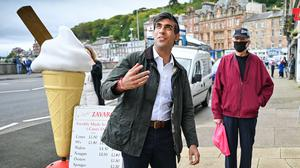Chancellor of the Exchequer Rishi Sunak during a visit to Rothesay on the Isle of Bute (PA)