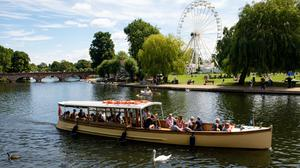 People enjoy a boat trip on a warm day in Stratford-upon-Avon, Warwickshire (Jacob King/PA)