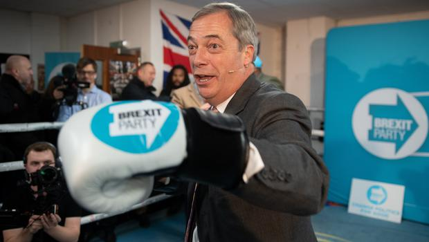 Brexit Party leader Nigel Farage at the Gator ABC Boxing Club in Hainault, Ilford, Essex (Joe Giddens/PA)