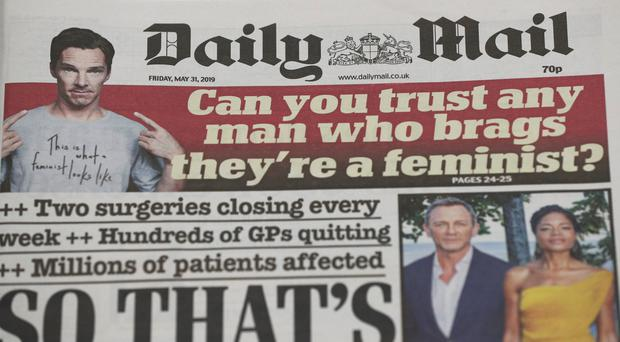 The Daily Mail Masthead. DMGT, which owns the Mail titles, saw profits and revenues slip on the back of falling newspaper sales (Jonathan Brady/PA)